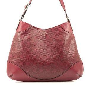 Auth Gucci Shoulder Bag Burgundy Leather #1955G20